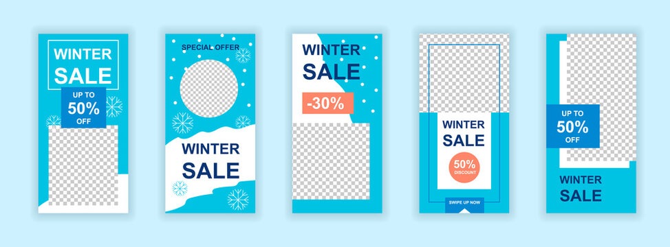 Christmas sale editable templates set for Instagram stories. Winter holidays shopping, christmas season sale. Design for social networks. Insta story mockup with free copy space vector illustration.