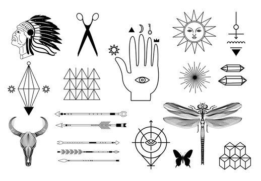 Hipster Symbols and Logotypes Set