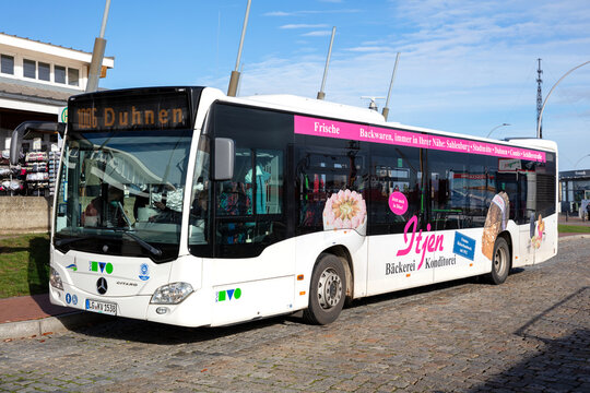 CUXHAVEN, GERMANY - OCTOBER 28, 2020: KVG Mercedes-Benz Citaro bus at holding point 'Alte Liebe'. KVG is one of the largest bus companies in Lower Saxony.