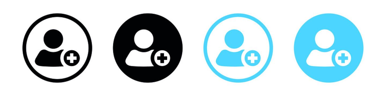 Add new user icon vector male person profile avatar with plus symbol, Add user profile icon