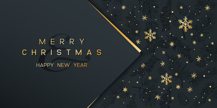 Christmas Poster on black. Vector illustration of Christmas Background with golden snowflakes and geometric decorative elements.