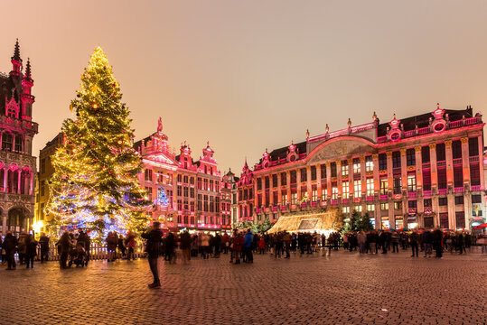 View of Grand Place decorated and illuminated for Christmas in Brussels city centre on a December nigth
