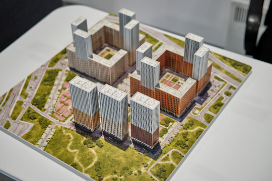 "Model of the residential complex ""Stolichnye polyany"" of company PIK - Moscow, Russia, 12.02.2019"