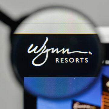 Milan, Italy - November 1, 2017: Wynn Resorts logo on the website homepage.