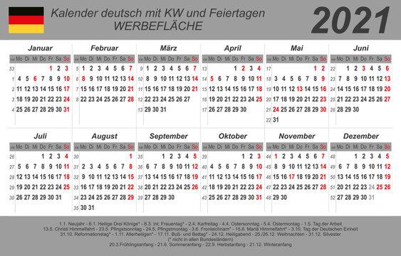 Kalender 2021 - grau - quer - deutsch - mit Feiertagen (85 x 54 mm)