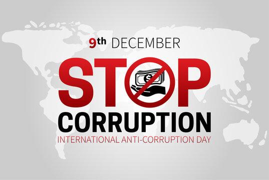 Stop Corruption and International Anti-Corruption Day Banner Illustration