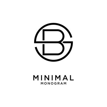 simple initial letter luxury sb bs line outline logo design with white background