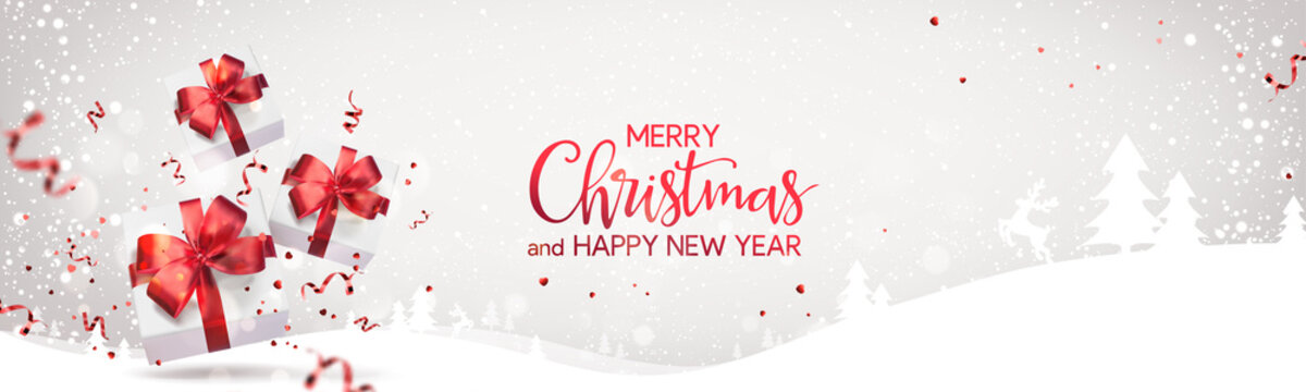 Red Merry Christmas and Happy New Year text on light holiday background with Christmas gift boxes, red ribbons, bows, decoration, sparkles, confetti, bokeh. Xmas card. Realistic Vector Illustration