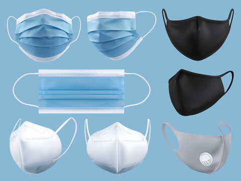 Medical mask, surgical mask, virus and infection protection. 3d realistic vector object set
