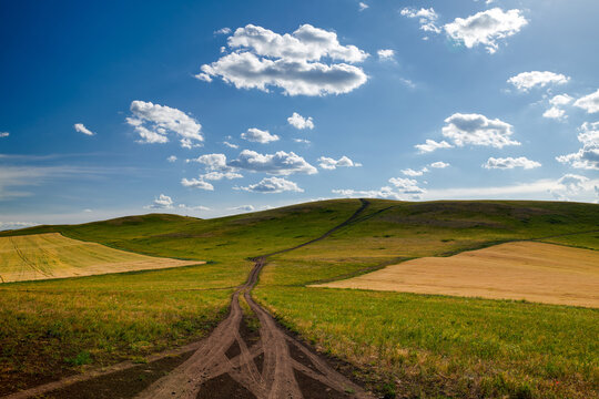 The road on the summer grassland of Hulunbuir of China.