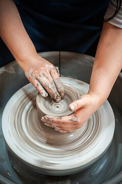 Shaping clay - clay pot and earthenware making by hands