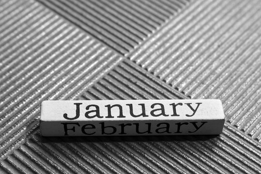 White wooden block showing the word January on a silver metallic background