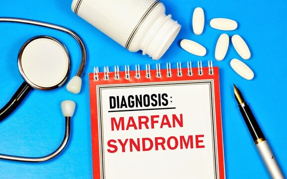 marfan syndrome. Text inscription on the form in the medical folder. The diagnosis was made by a doctor. Medication treatment.