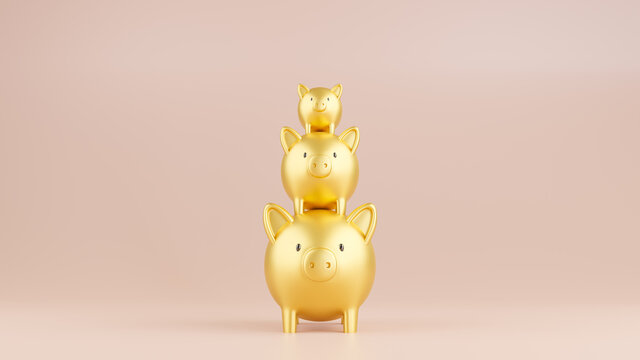3D rendered illustration of three piggy banks in a stack.