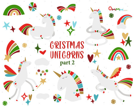 Christmas Unicorns. Magic winter holiday set. Collection of fairy new year characters ant celestial elements. Christmas rainbow, stars, hearts, sparkle, shine.