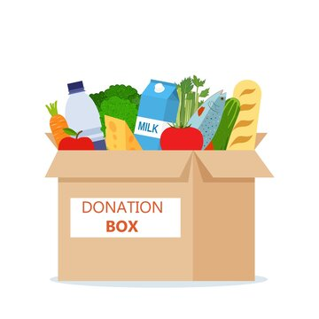 Cardboard box full of food. Needed items for donation. Water, bread, milk, fruits and vegetables products. Food drive bank, charity, thanksgiving concept. Vector illustration flat style