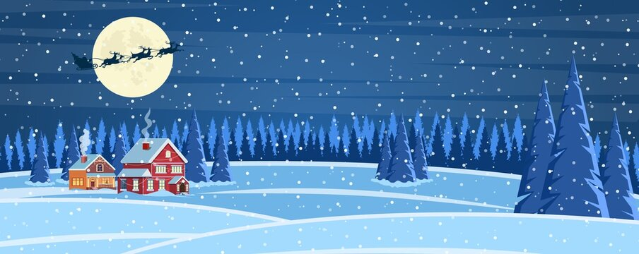 Christmas landscape background with snow and tree. Merry christmas holiday. New year and xmas celebration. Vector illustration in flat style