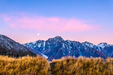 Travel shot, beautiful New Zealand snow mountain scenery of Mount Cook