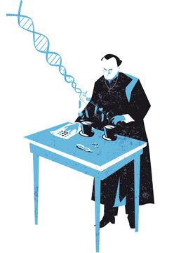 Gregor Mendel and the DNA sequencing discovery vector illustration