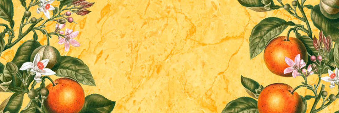 Tropical oranges on a yellow marble texture background