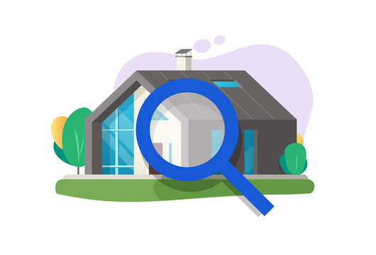 Home or house inspection review service vector illustration, property apartment search or find idea flat, quality examine of architecture construction via magnifying glass, rent or buy research