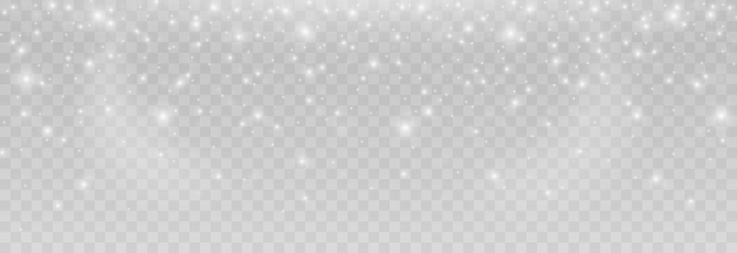 Vector snow. Snow on an isolated transparent background. Snowfall, blizzard, winter, snowflakes. Christmas image.