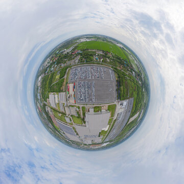 Little planet 360 degree sphere. Panorama of aerial top view of new cars parking for sale stock lot row, dealer inventory import and export, Automobile and automotive industry distribution logistic