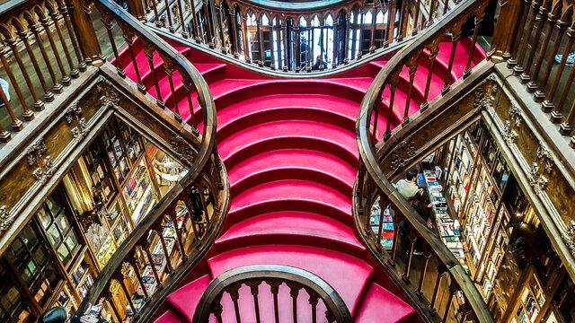 Livraria Lello, one of the oldest bookstores in Portugal. Porto.