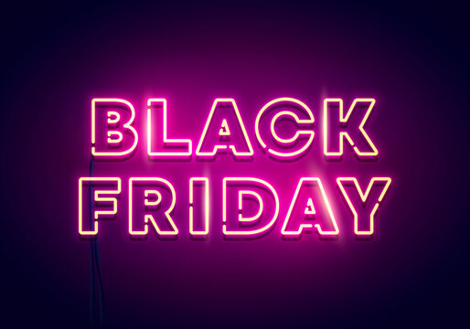 Vector Illustration Black Friday Neon Light.