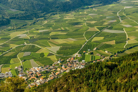 Superb panoramic view of the Val Venosta in the Silandro and Corzes area on a sunny day, South Tyrol, Italy
