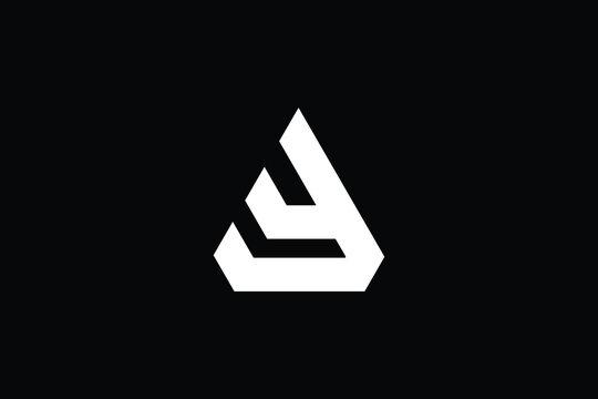 AY logo letter design on luxury background. YA logo monogram initials letter concept. AY icon logo design. YA elegant and Professional letter icon design on black background. AY YA