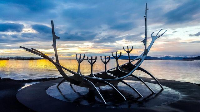 The Sun Voyager sculpture (Solfar) . Reykjavik, Iceland
