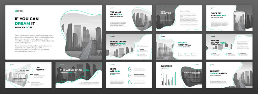 Business powerpoint presentation templates set. Use for keynote presentation background, brochure design, website slider, landing page, annual report, social media banner.