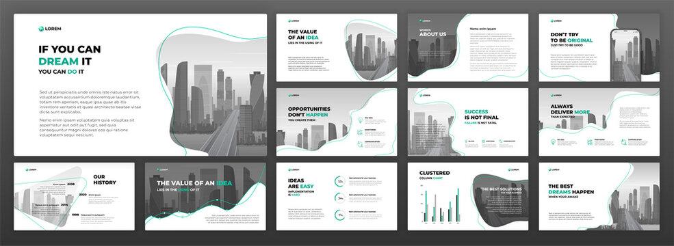 Business powerpoint presentation templates set. Use for keynote presentation background, brochure design, website slider, landing page, annual report, social media banner.
