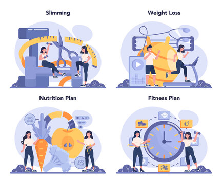 Slimming specialist set. Diet plan and physical activity. Over weight