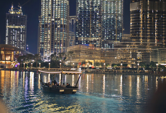 tourists boat in dubai marina