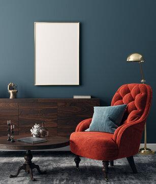 Poster mockup in modern interior background, 3d render