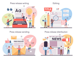 Fototapeta Press release concept set. Mass media publishing, daily news obraz
