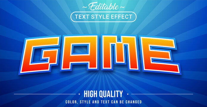 3D game text effect - Editable text effect