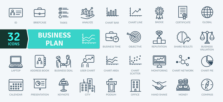 Business Plan Icons Pack. Thin line icons set. Flat icon collection set. Simple vector icons