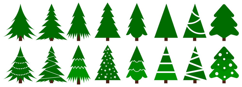 Set of Christmas trees on white background, template of vector elements for design. Vector illustration EPS 10