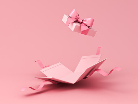 Blank sweet pink pastel color present box or open gift box with pink ribbon and bow isolated on pink background with shadow minimal concept 3D rendering