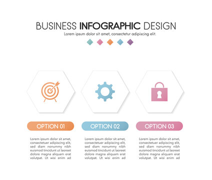 Business diagram with icons and 3 options. Infographic design. Vector