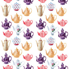Watercolor seamless patterns with multicolored teapots