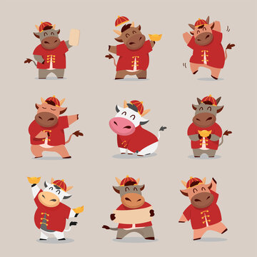 Happy Chinese new year 2021 Ox zodiac. Cute cow character in in red costume and gold money set.