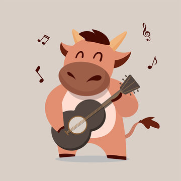 Cow Playing Guitar. Chinese new year Ox zodiac 2021 character desgn. Cute animal cartoon.