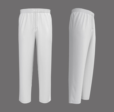 Blank pants mockup in front and side views. Sweatpants. 3d rendering, 3d illustration.