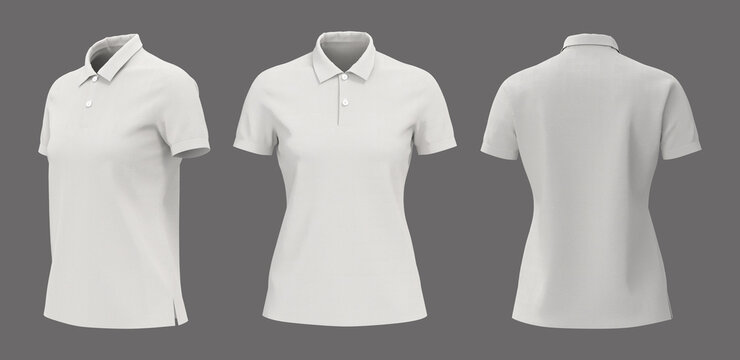 Blank white collared shirt mockup in front, side and back views, plain t-shirt mockup, tee design presentation for print, 3d rendering, 3d illustration