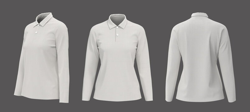 Blank white collared shirt mockup in front, side and back views, women's polo shirt mockup, 3d rendering, 3d illustration