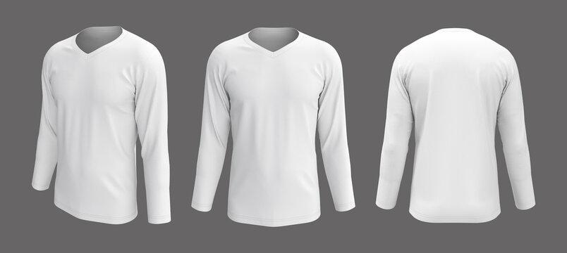 men's white longsleeve t-shirt mockup in front, side and back views, design presentation for print, 3d illustration, 3d rendering